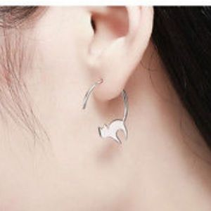 Jewelry - CATS lovers silver stretching napping earrings